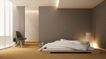 bedroom and balcony in hotel or apartment - Interior design - 3D Rendering Banque d'images - 128998176