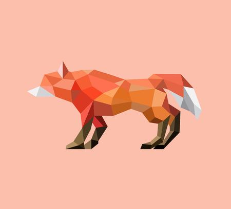 poligonos: animales. geométrica zorro naranja polígono en fondo anaranjado en colores pastel