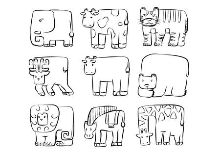 rounded rectangle: animals set . cute rounded rectangle wild animal symbol
