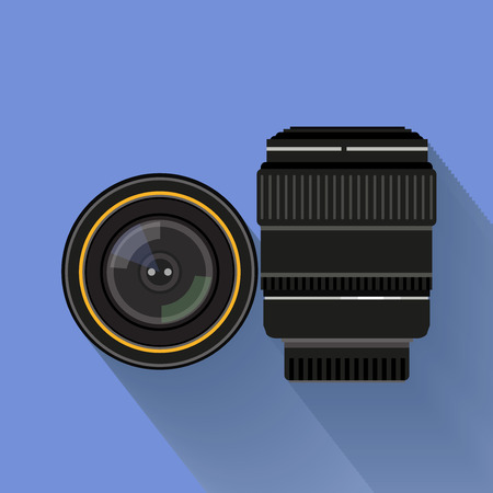 camera symbol: camera set . flat graphic camera lens symbol Illustration