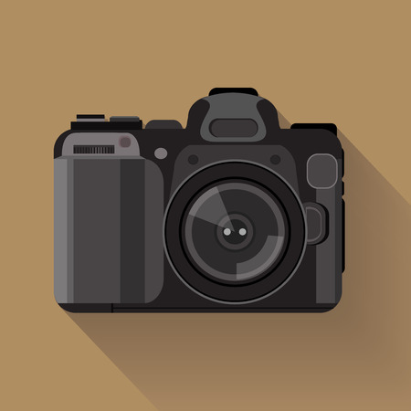 dslr camera: camera set . flat graphic dslr camera symbol
