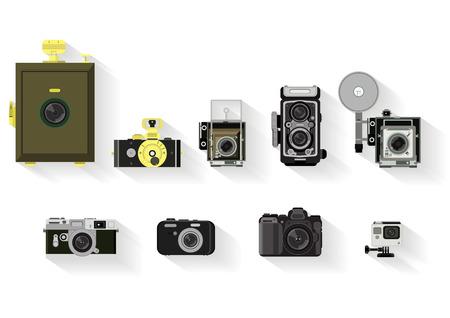 camera set. vlakke grafische geschiedenis van de camera Stock Illustratie
