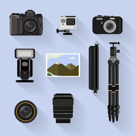 photo tools: camera set . flat graphic photo camera and tools set on blue background