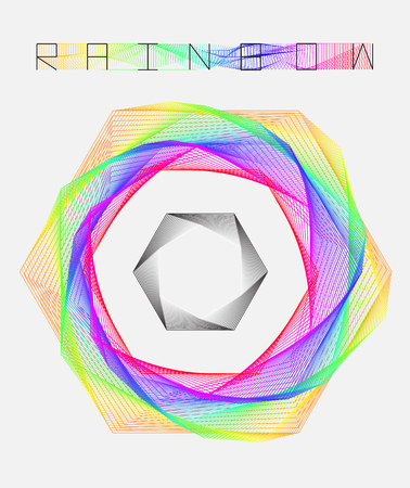 blend: geometric rainbow hexagon line graphic and blend rainbow typography Illustration
