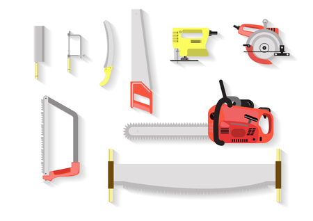 wood working: tools set . saw tools on white background