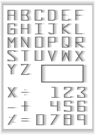 fade: typography set . blend fade design typography number and math symbols Illustration