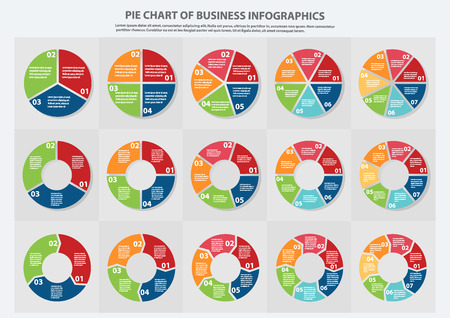Many type of pie chart for Business, Sale forecast,data presentation with 1, 2, 3, 4, 5, 6 and 7 options