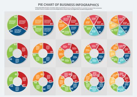 Muchos tipos de gráficos circulares para negocios, pronóstico de venta, presentación de datos con opciones 1, 2, 3, 4, 5, 6 y 7