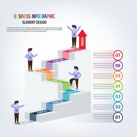 Modello di infografica aziendale scale con freccia e passaggi di persone per presentazione, previsione di vendita, successo, miglioramento, passo dopo passo