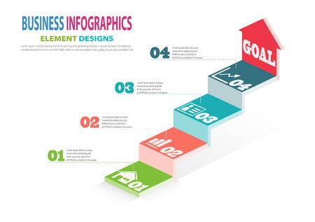 Infographics business template with steps for Presentation, Sale forecast, Web design, Improvement, Step by Step