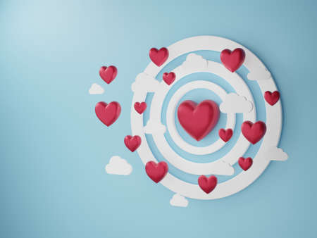 3D illustration of love and valentine day, White frame, White cloud and Red heart float on the blue background. 3D Rendering