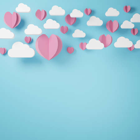 3D illustration of love and valentine day, White cloud and Pink like a paper cut heart float on the blue background. 3D Rendering