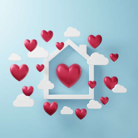 3D illustration of love and valentine day, White house frame, White cloud and Red heart float on the blue background. 3D Rendering