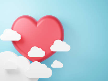 3D illustration of love and valentine day, White cloud and Red heart float on the blue background. 3D Rendering 版權商用圖片