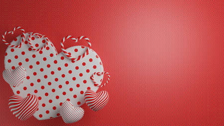 Concept of love and happy valentine day, Heart shape floating on the background. 3D Rendering, illustration.