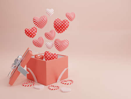Concept of love and happy valentine day, Heart shape with gift box floating on the background. 3D Rendering, illustration.