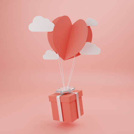 Concept of love and happy valentine day, Heart shape paper cut style with gift box floating on the background. 3D Rendering, illustration.