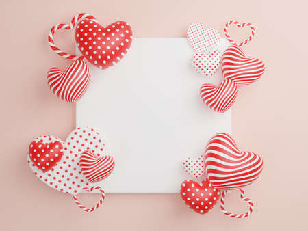 Concept of love and happy valentine day, Heart shape with white picture frame floating on the background. 3D Rendering, illustration.