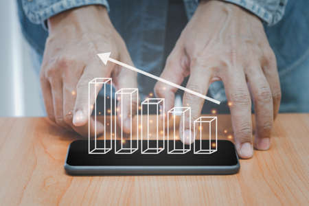 Business finance technology and investment concept with 3D graph pop up on smart phone. Stock Market, Investments, GrowthFunds analyst. Business finance and growth background.