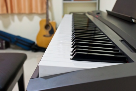piano closeup with guitar background photo