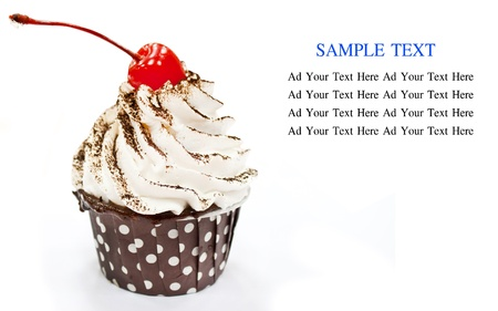 cup cake isolated on white with sample text