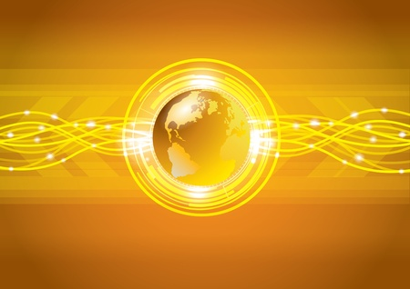 Abstract gold global earth technology background, vector Stock Vector - 16318540
