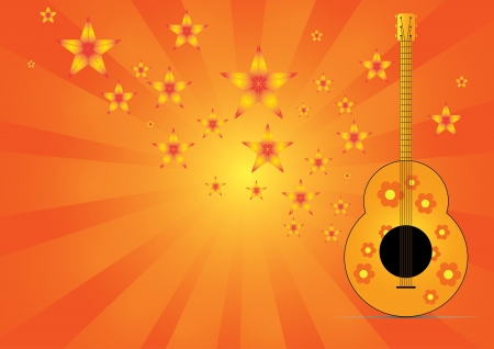 guitar with star music on background vector Vector