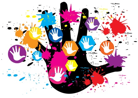 Hand color design vector