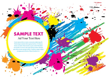 ink paint colorful design vector illustration with free Space text