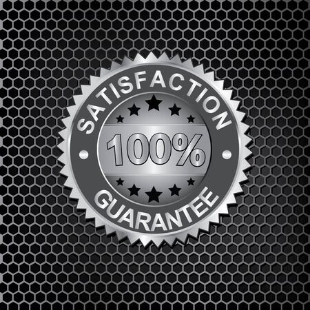 certificate seal: Satisfaction Guaranteed on metal background vector Illustration