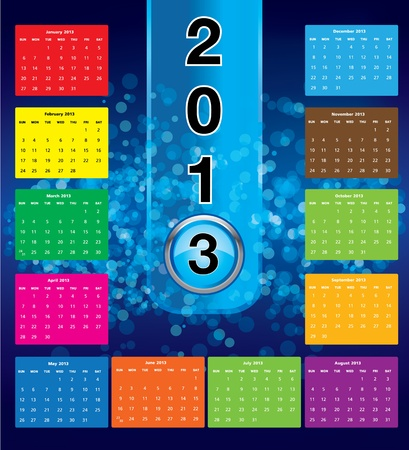 Colorful calendar for 2013  Vector