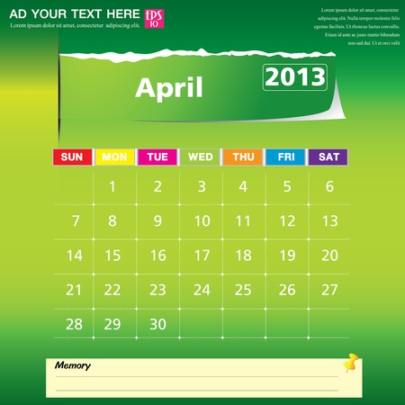 April 2013 calendar vector illustration  Stock Vector - 16319380