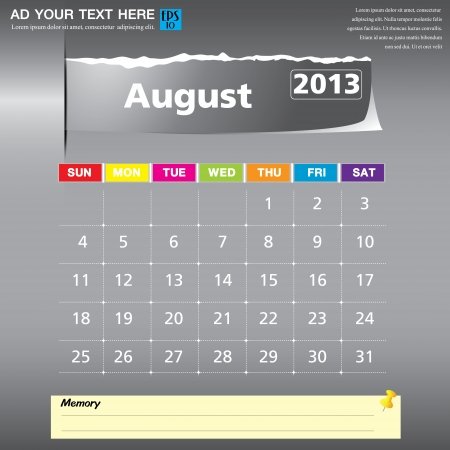 August 2013 calendar vector illustration  Vector