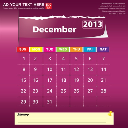 December 2013 calendar vector illustration  Vector