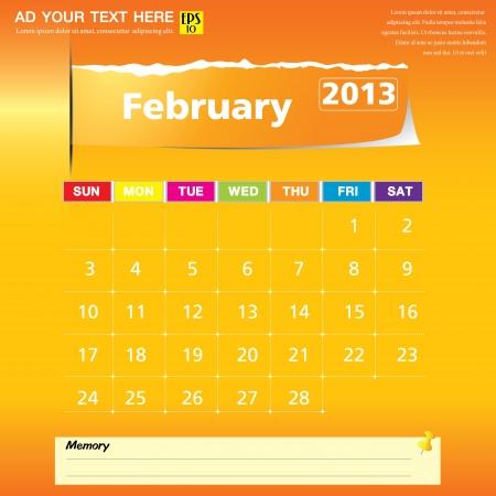 February 2013 calendar vector illustration  Çizim