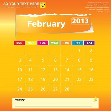 February 2013 calendar vector illustration Stock Vector - 16319317