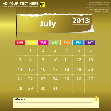 July 2013 calendar vector illustration  Stock Vector - 16319385