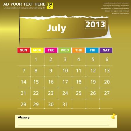 July 2013 calendar vector illustration Stock Vector - 16319385