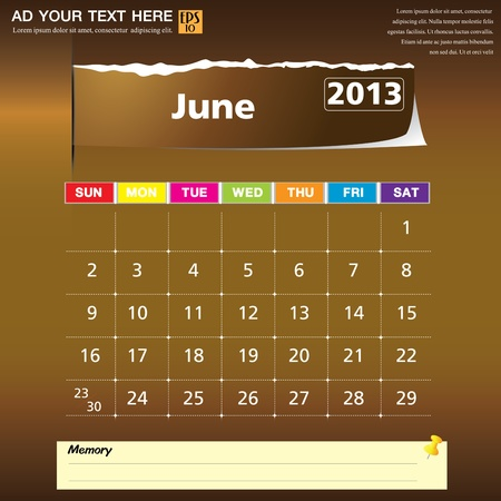 June 2013 calendar vector illustration  Vector