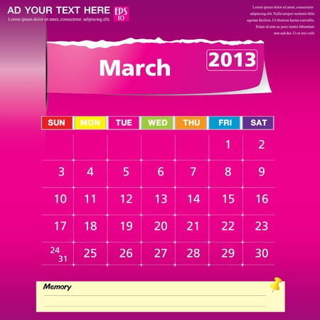 March 2013 calendar vector illustration  Stock Vector - 16319320