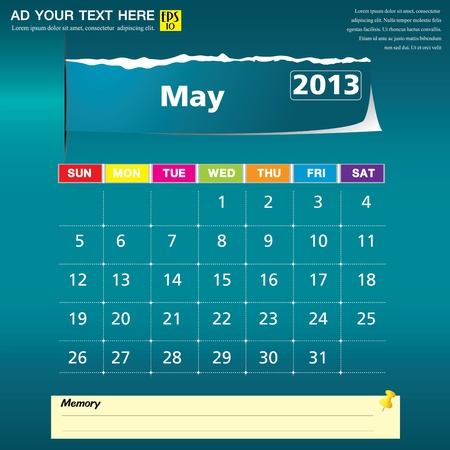May 2013 calendar vector illustration  Vector