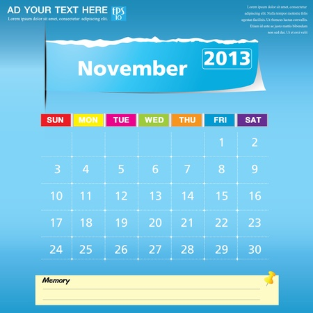November 2013 calendar vector illustration Stock Vector - 16319316