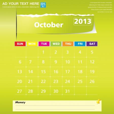 October 2013 calendar vector illustration Stock Vector - 16319382