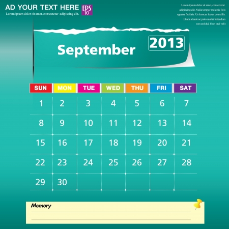 September 2013 calendar vector illustration  Stock Vector - 16319389