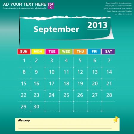September 2013 calendar vector illustration Stock Vector - 16319389