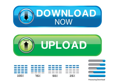 download and upload botton web Vector