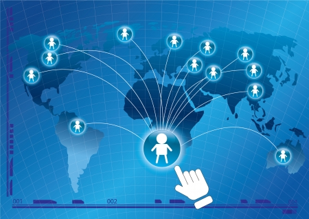 business connection on globe social network  Ilustrace