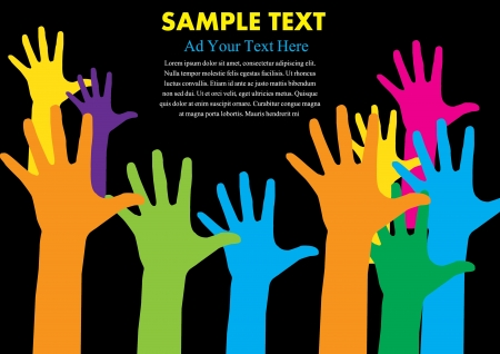 raised hand: hand colorful with copy space vector illustration