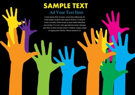 manos levantadas: mano colorido con la ilustración del vector de espacio de la copia