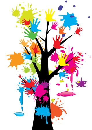 education help: Hand tree colorful vector illustration Illustration